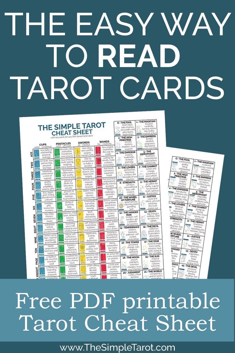 free printable tarot cheat sheet pdf