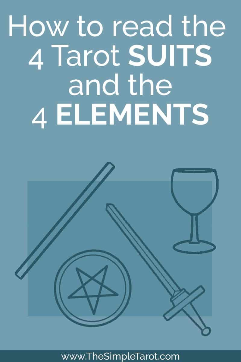It is easier to understand - and remember - the card meanings when you know the underlying patterns and symbols. There are MANY symbols that will help you learn the Major Arcana cards, but first, this post will cover the Minors - specifically the four elements  of Air, Earth, First, and Water and the four suits of the Cups, Pentacles, Swords, and the Wands. #tarot #tarotcards